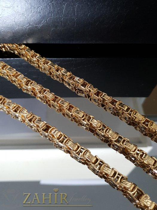 Бижута за мъже - Едър стоманен позлатен комплект римска плетка, ланец 59 см, гривна 23 см, широки 0,8 см - ML1360