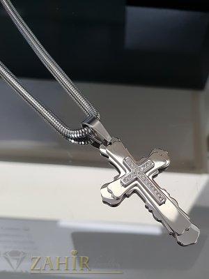 Кръгъл стоманен ланец 60 см с висулка стоманен кръст с кристали 6 см - ML1385