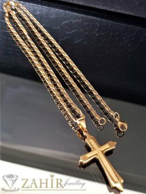 Нежен стоманен позлатен кръст 4 см на тънък ланец 55 см, златно покритие - ML1401