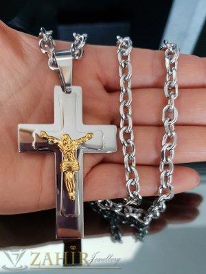Едър стоманен кръст 8 см с Исус на изчистен стоманен ланец 59 см  - ML1425