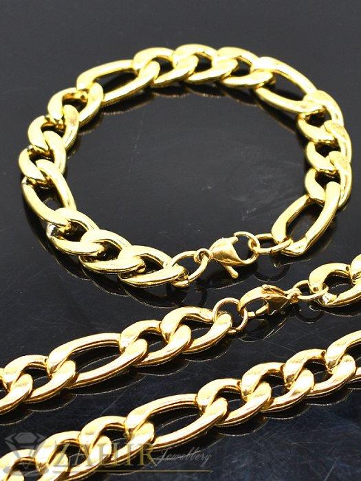 Едър стоманен комплект с фигаро плетка, ланец 60 см и гривна 22 см, златно покритие - ML1436