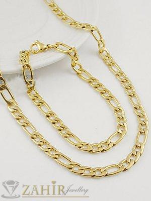 Класически мъжки комплект от позлатена стомана, ланец и гривна в 3 размера, широки 0,6 см - ML1460