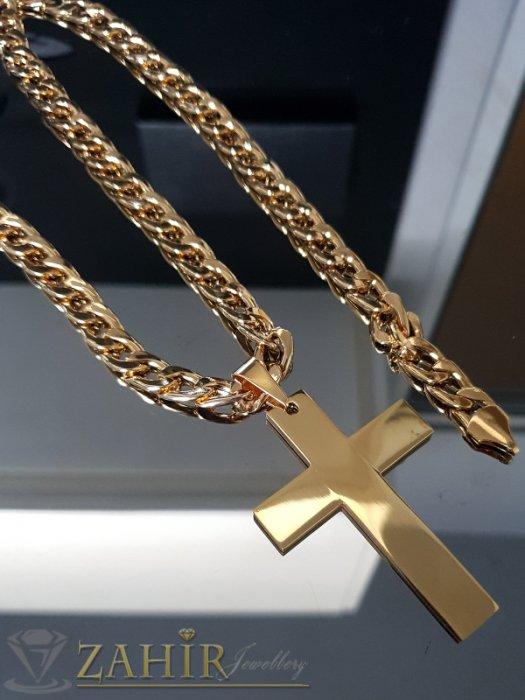 Масивен позлатен стоманен кръст 7 см на едър стоманен ланец 60 см, широк 1 см - ML1464