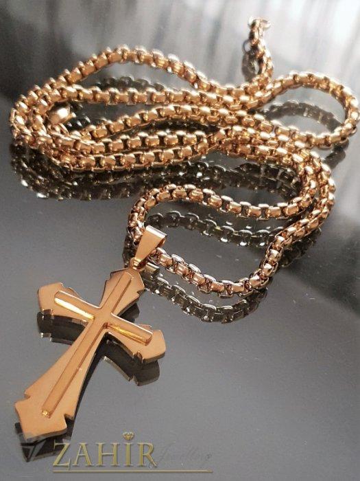 Бижута за мъже - Стилен стоманен позлатен кръст 4,5 см на стоманен ланец 0,4 см наличен в 3 размера - ML1469