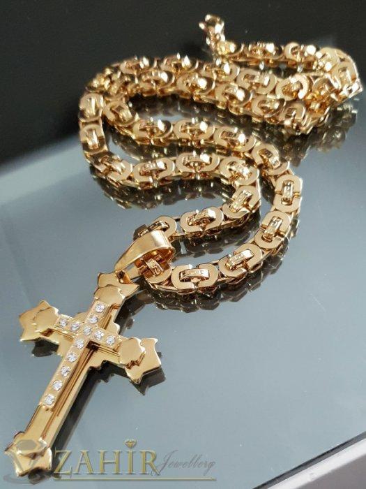 Бижута за мъже - Трипластов стоманен позлатен кръст с кристали 7 см на елегантен римски ланец в 3 размера - ML1472