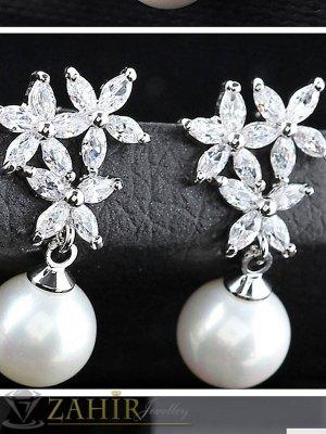 Великолепни кристални обеци цветя с висулка перла, сребърно покритие, дълги 4 см - O2445