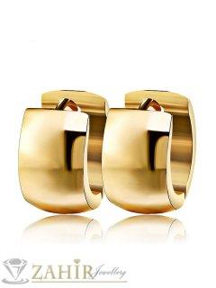 Класически стоманени позлатени изчистени халки 1,5 см, широки 0,8 см, английско закопчаване - O2447
