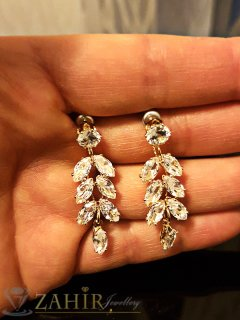 Великолепни висящи кристални обеци 4 см, златно покритие, на винт - O2453