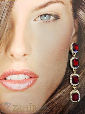 Червени кристални висящи обеци на винт 7 см в златно или сребърно покритие - O2457