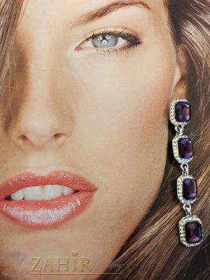Виолетови кристални висящи обеци на винт 7 см в златно или сребърно покритие - O2459