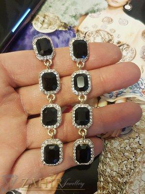 Черни кристални висящи обеци на винт 7 см в златно или сребърно покритие - O2460