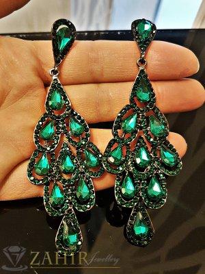 Тъмнозелени луксозни кристални обеци дълги 9,5 см, закопчаване на винт - O2473