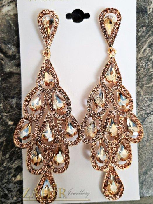 Кехлибарени луксозни кристални обеци дълги 9,5 см, закопчаване на винт, златно покритие - O2476