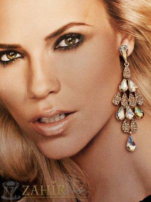 Луксозни  обеци 9 см инкрустирани с кехлибарени кристали, златно покритие, на винт - O2478