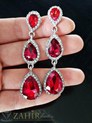 Стилни висящи обеци 6,5 см с червени кристали, със златно или сребърно покритие - O2479