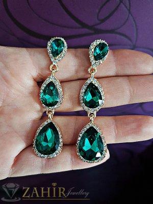 Зелени висящи обеци на винт 6,5 см, със златно или сребърно покритие - O2483