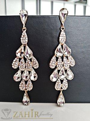 Блестящи бели кристални обеци, дълги 9 см със златно покритие, на винт - O2491