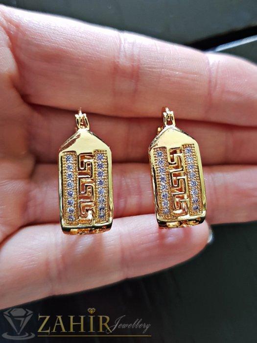 Изящно изработени двойно позлатени халки 2,5 см с ковани кристали и златно покритие - O2500