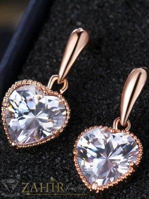 Много нежни обеци 1,5 см с кристални сърца с фасетиран камък, розово златно покритие - O2509