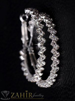 Кристални халки с камъни, диаметър 4 см, сребърно покритие, английско закопчаване - O2511