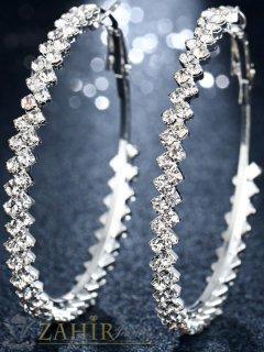 Кристални халки с камъни, диаметър 5 см, сребърно покритие, английско закопчаване - O2512
