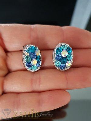 Стоманени овални обеци 1,7 см с многобройни синьо-бели кристали, на винт - O2519