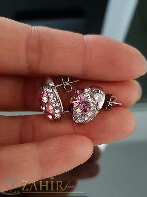Стоманени овални обеци 1,7 см с многобройни лилаво-бели кристали, на винт - O2520