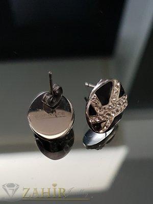 Стоманени овални обеци 1,5 см с черен емайл и бели кристали, на винт - O2521
