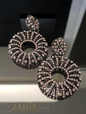 Масивни луксозни висящи обеци 7,5 см с бели кристали, на винт - O2523