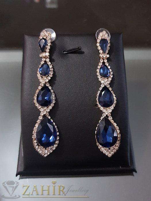 Дамски бижута - Прекрасни блестящи обеци 8 см със тъмносини и бели кристали на винт - O2532