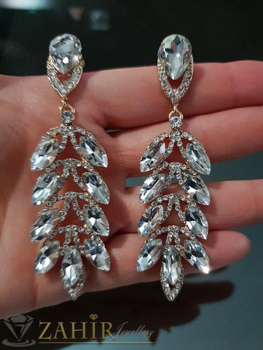 Дамски бижута - Висококачествени луксозни обеци 8 см с бели кристали и златно покритие на винт - O2534