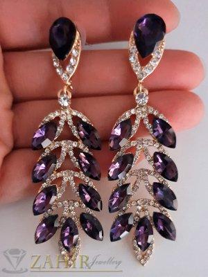 Луксозни обеци 8 см с бели и виолетови кристали и златно покритие на винт - O2535