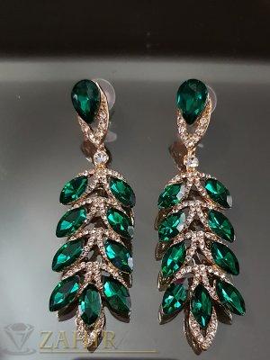 Луксозни обеци 8 см с бели и зелени кристали и златно покритие на винт - O2537