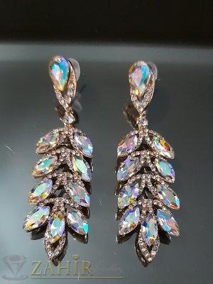 Блестящи обеци 8 см с хамелеон и бели кристали и златно покритие на винт - O2541