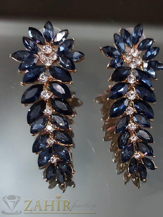 Дамски бижута - Атрактивни позлатени обеци 6 см с тъмносини и бели кристали на винт - O2542