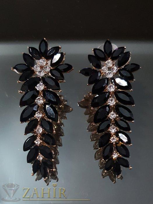 Дамски бижута - Класически позлатени обеци 6 см с черни и бели кристали на винт - O2543