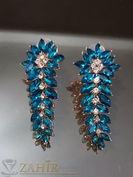 Дамски бижута - Прекрасни позлатени обеци 6 см с яркосини и бели кристали на винт - O2547