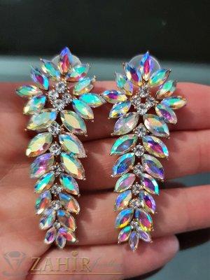 Романтични позлатени обеци 6 см с хамелеон и бели кристали на винт - O2548