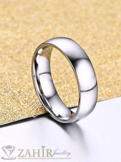 Непроменяща цвета си класическа стоманена халка, подходяща за сватбен ритуал - P1467