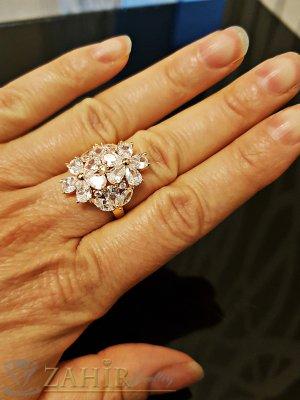 Великолепен пръстен с уникални кристални циркони и двойно златно покритие - P1477