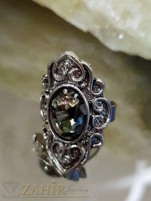 Изящно изработен пръстен с натрошен седеф, цинкова сплав, регулиращ се размер - P1488