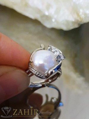 Класически пръстен с голяма речна перла, сребърно покритие, регулиращ се размер- P1490