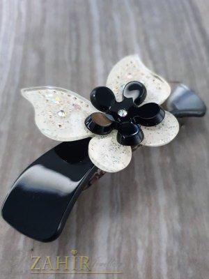 Черно-бяла шнола за коса с размери 8 на 3 см - ST1063