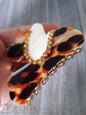 Бежево-кафява щипка с леопардов десен , дълга 8 см - ST1091