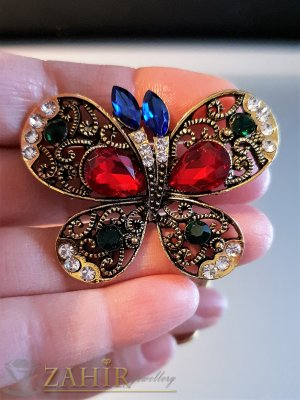 Впечатляваща многоцветна кристална брошка пеперуда 5 на 4 см, лазерно изрязана крилца, позлатена - B1114