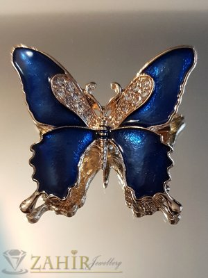 Синя емайлирана брошка пеперуда 3 на 4 см с бели кристали и златно покритие - B1131