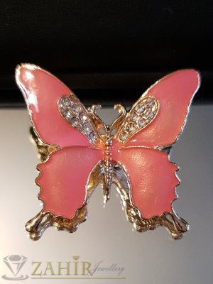Розова емайлирана брошка пеперуда 3 на 4 см с бели кристали и златно покритие - B1132