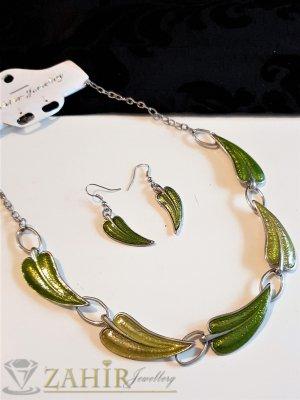 Комплект зелени листа от смола на колие 40+8 см и обеци 5 см, цинкова сплав - E1034