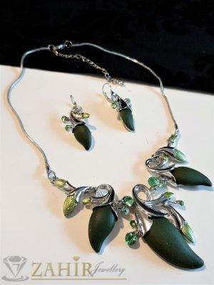 Масленозелени емайлирани висулки цветя на колие 45+8 см и обеци 5 см, цинкова основа - E1040