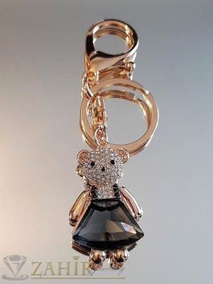 Сладко мече 5 см с голям графитен кристал и бели циркони на ключодържател от стомана 11 см, позлатен - KL1044